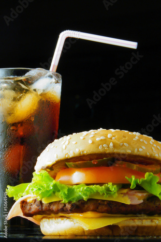 Hamburger and beverage