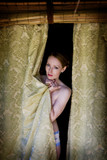 shy woman in underwear poster