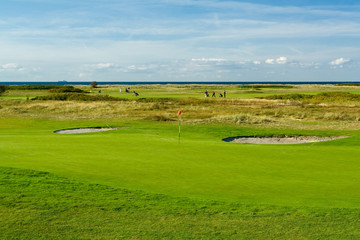 Seaside golf landscape at Falsterbo, Sweden. Lovely day in Octob