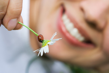 close-up smiling woman holding flower camomile with ladybug