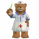 Mad Female Nurse Bear with a Syringe poster