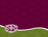 Engraved Rose on a Purple and Green Background poster