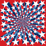 Red White and Blue Bursting Stars Background poster