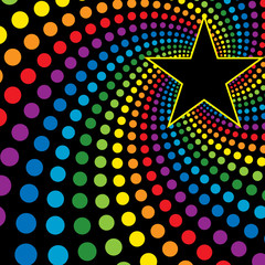 Star with rainbow swirl