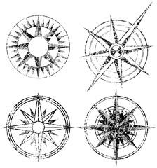 Four Grunge Compasses