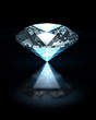 Blue diamond on black background