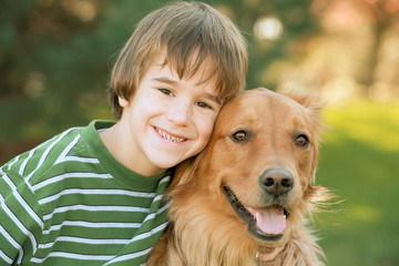 Boy with Golden Retriever