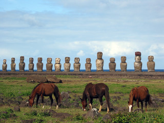Ahu Tongariki and wild horses