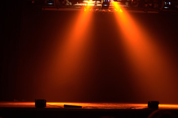 The theater lights with smoke