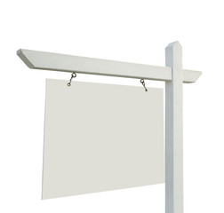 Blank Real Estate Sign Isolated on White Background.