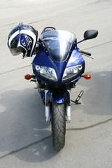 Dark blue motorcycle.