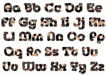 camoflage alphabet woodland