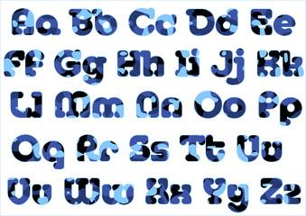 camoflage alphabet blue sky