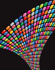 glossy rainbow mosaic squares twist