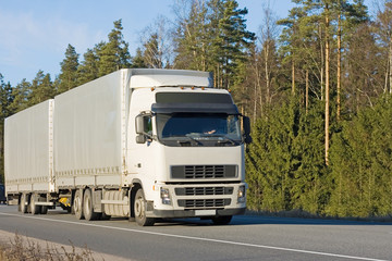 """blank tractor trailer truck on road of """"business vehicles"""""""
