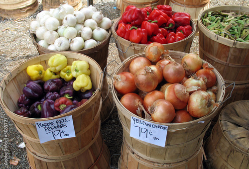 fresh vegetables in bushel baskets