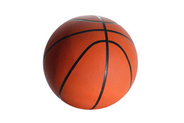 isolated orange-black basketball ball