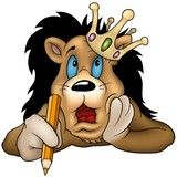 Lion with pencil  - Highly detailed cartoon illustration-