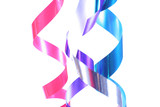Shiny ribbons hanging in curls. Holiday, celebration, party . poster