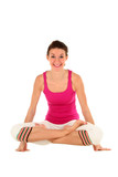 Woman in yoga posture, balancing on her hands poster