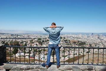 Boy looking at the City of San Francisco