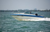 White and Blue Motor Boat poster