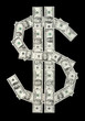 U.S. dollar symbol made of various dollar bills