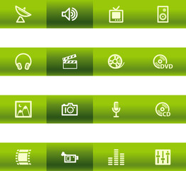 Green bar media icons