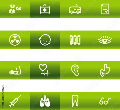 Green bar medicine icons