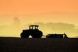 Leinwandbild Motiv Tractor Silhouettes