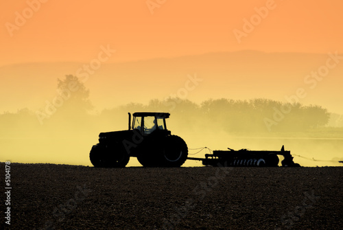 canvas print picture Tractor Silhouettes