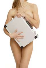 Nude woman with suitcase