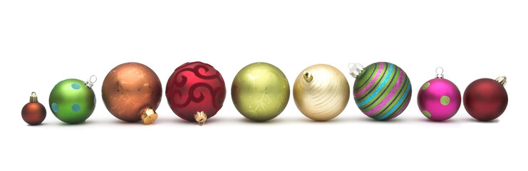 Row of Christmas baubles
