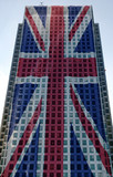 union jack projected onto iconic british corporate building