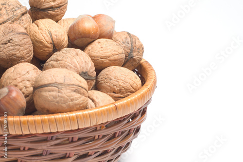 isolated basked with nuts