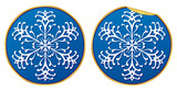 Snowflake round sticker normal and peeling version poster