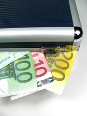 suitcase with money close-up