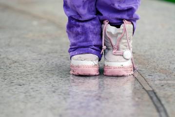 Children boots in the rain