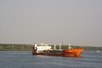 River oil tanker on the way