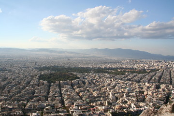 Athens general view from above. Roofs, buildings and hills.