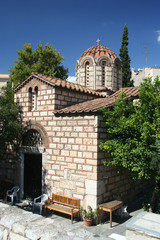 Ancient Greek orthodox stone temple in Athens