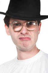 man in hat and glasses