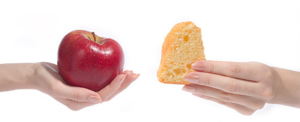 apple and cake isolated