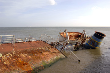 Rusted shipwreck in the coast
