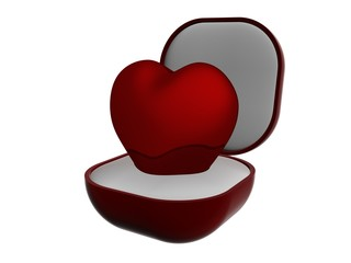 Red heart in gift packing. 3D image.