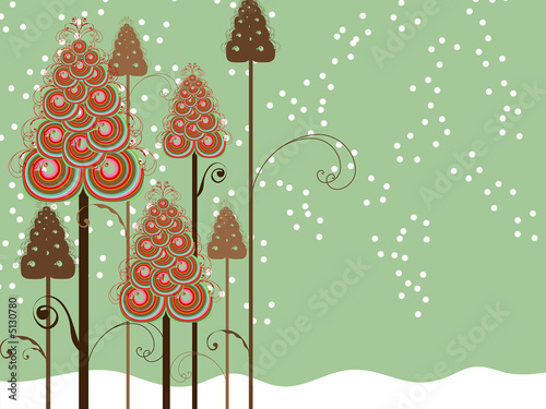 whimsical swirls winter trees