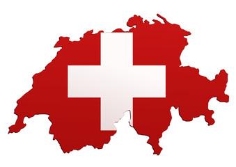Carte de Suisse (Drapeau)