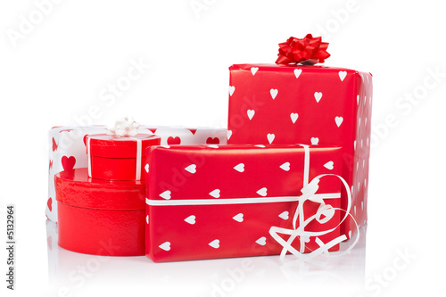 Assortment of red gift boxes