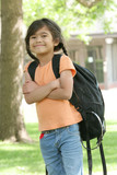 Six year old with backpack ready for school poster