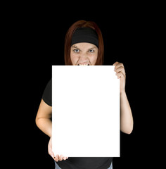 Angry girl holding a canvas